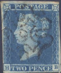 1841 2d Blue SG14 Plate 3 'HB' CV, No.9 in MX